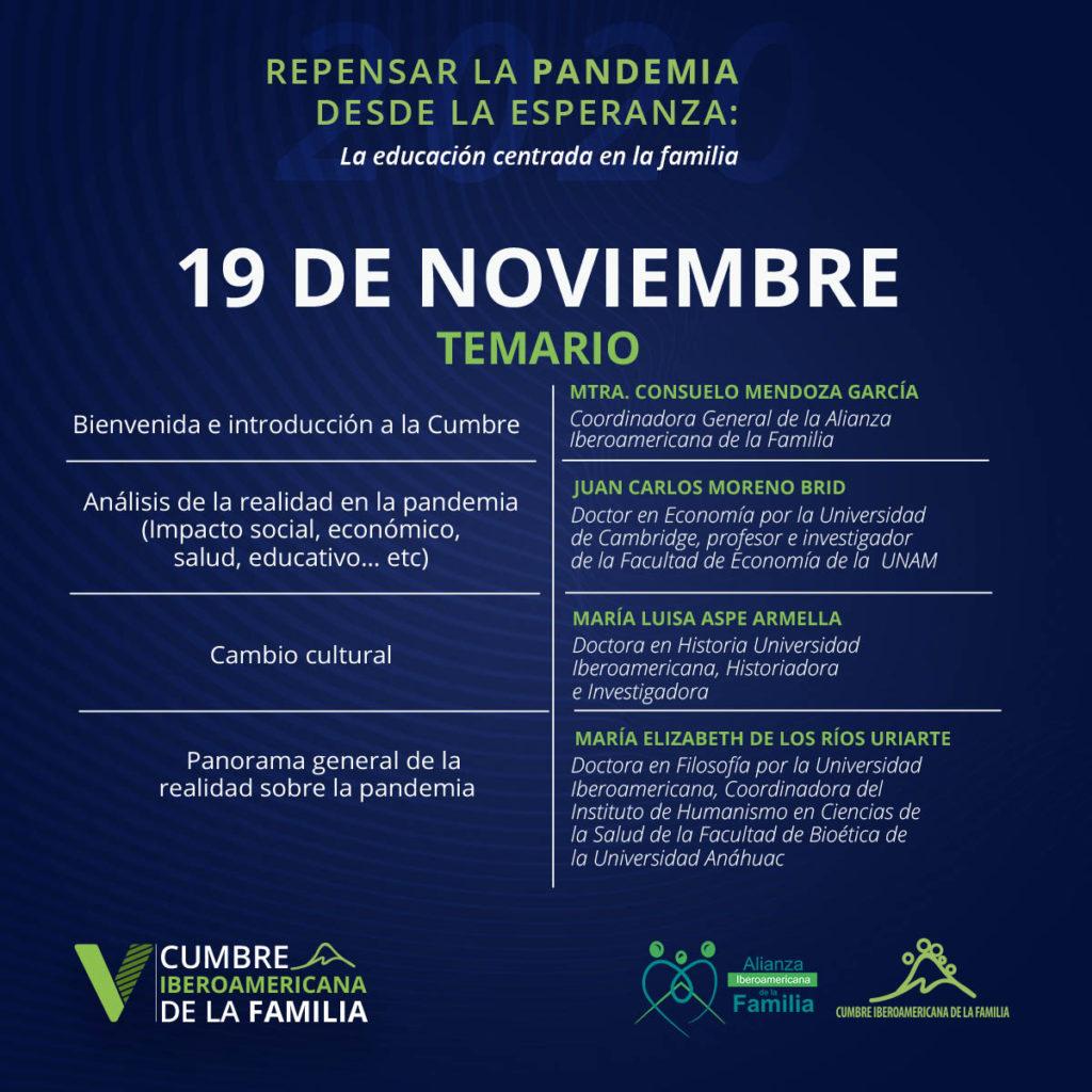 V Cumbre Iberoamericana de la Familia Programa 19 noviembre